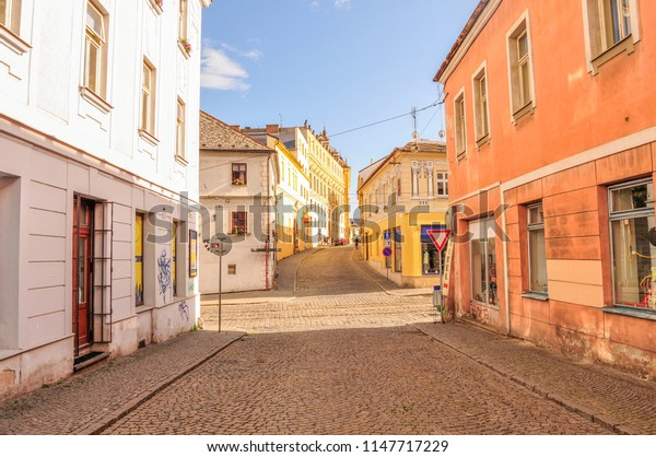Beautiful view to the street, old houses, Poland