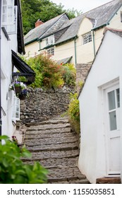 Beautiful view of the streets of Clovelly, nice old village in the heart of Devonshire, England