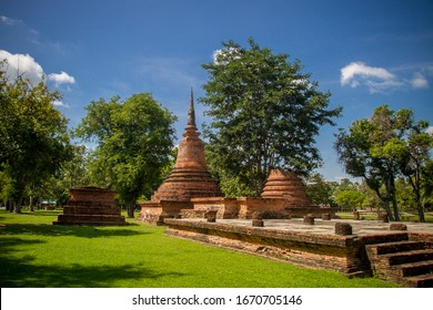Beautiful view from Sukhothai Historical Park and Wat Mahathat in the city of Sukhothai. Famous tourist destination in Thailand. Asian cultural heritage.