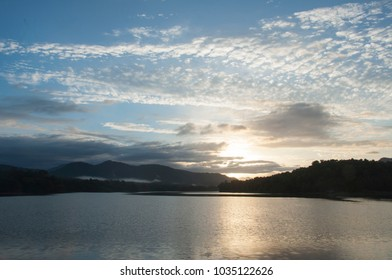 Beautiful view of sunrise behind the Thattekad bird sanctuary along with the view of Periyar river.
