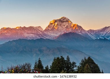 Beautiful view of sunset over the Dhaulagirin mountain range from Poonhill ghorepani Nepal
