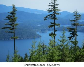 Beautiful view from Sunshine Coast Trail in British Columbia, Canada
