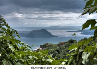 Beautiful view of Taal lake and volcano in Tagaytay, Philippines.