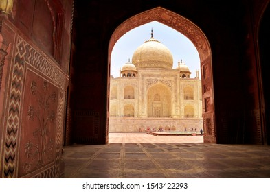 Beautiful view of Taj Mahal from Masjid inside, Agra, India.  Mughals Architecture