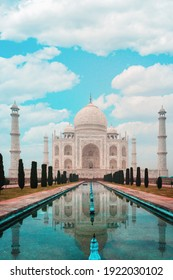 Beautiful view of the Taj Mahal Palace. Blue sky with clouds in the background. Vertical orientation. Copy space.