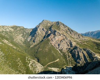 Beautiful view of tall mountains in South Albania along the Albanian Riviera