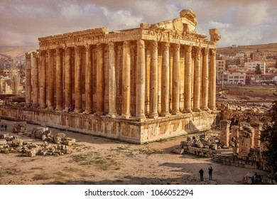 Beautiful view Temple of Bacchus to Baalbek, Beqaa Valley. Heliopolis.  World Heritage site, is one of the best preserved and grandest Roman temple ruins in the world.