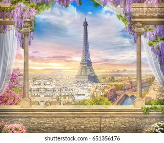 Beautiful view from the terrace to Paris. Digital fresco.