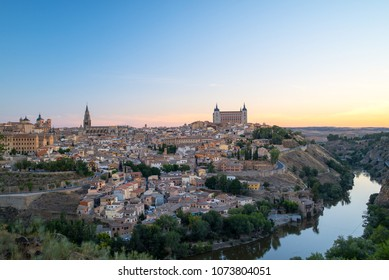 Beautiful view of Toledo old town in sunrise time, Spain.