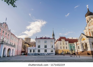 Beautiful view of Toompea Castle and Aleksander Nevski Cathedral in the Old Town of Tallinn, Estonia