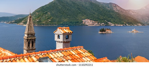 Beautiful View from the top of ancient city Perast of the Harbour at Boka Kotor bay (Boka Kotorska)  in the Adriatic sea on Sunny summer day.
