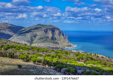 Beautiful view from top of Monte Pellegrino (Pilgrim Mountain), which overlooks whole Palermo bay. Palermo, Sicily, Italy.