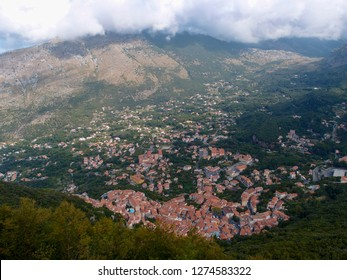 Beautiful view from the top of the mountain to the small houses of Maratea in the gorge, Basilicata, Potenza, Italy.