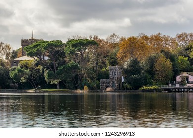 Beautiful view of Torre del Lago from Lake Massaciuccoli, Lucca, Tuscany, Italy