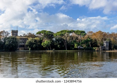 Beautiful view of Torre del Lago Puccini from Lake Massaciuccoli, Lucca, Tuscany, Italy