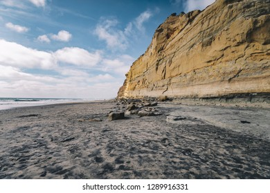 A beautiful view of Torrey Pines cliffs from the beach walk in La Jolla, San Diego, California, United States.