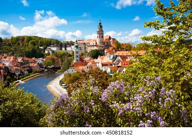 Beautiful view to tower and castle of Cesky Krumlov, Czech republic