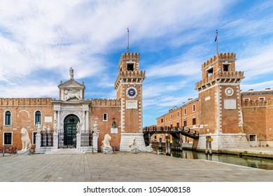 Beautiful view of the towers of the arsenal in the Castello district of Venice, Italy