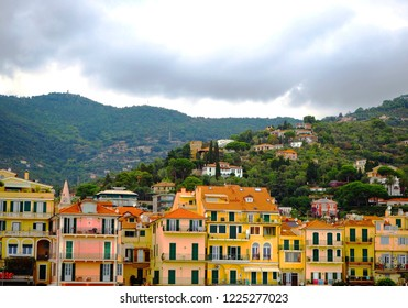 Beautiful view of town of Alassio with colorful buildings, Liguria, Italian Riviera, region San Remo, Cote d'Azur, Italy