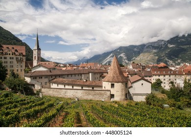Beautiful view at  town Chur , vineyards and Alps mountains, Switzerland