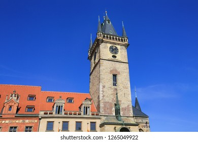 Beautiful view of the Town Hall and the Clock Tower on the Old Town Square in Prague