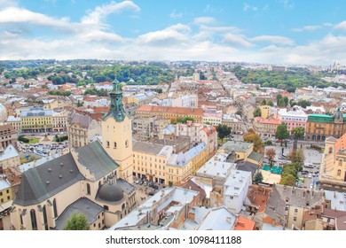 Beautiful view of the Town Hall Tower, Adam Mickiewicz Square and the historical center of Lviv, Ukraine