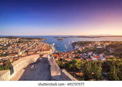 Beautiful view of the town of Hvar with golden hour. Hvar Island in Croatia.