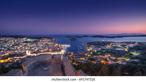 Beautiful view of the town of Hvar at night. Hvar Island in Croatia.