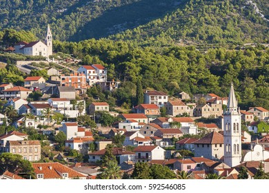 beautiful view of the town of Jelsa on the island of Hvar in Croatia