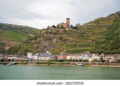 Beautiful view of the town of Kaub and castle Gutenfels, Upper middle Rhine Valley, Germany