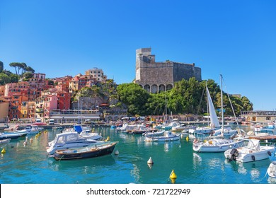 Beautiful view of town Lerici  on Ligurian coast of Italy in province of La Spezia. View from the sea in Castle of Lerici and port. Bright colored Italian houses on the shore of the Mediterranean sea.