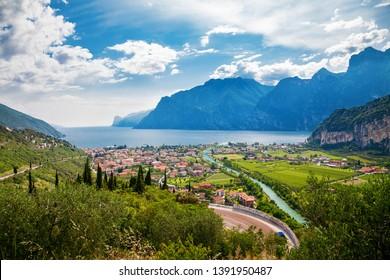 beautiful view of the town Nago Torbole and Sarca river, lake Garda, Trentino, Italy