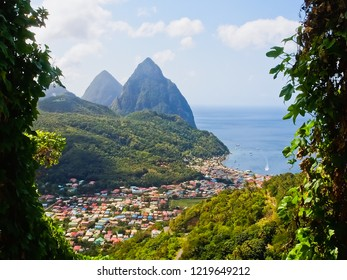 Beautiful view of the town of soufriere and pitons at southwestern coast of st. Lucia