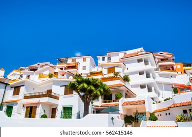 Beautiful view of the traditional architecture of Los Cristianos, Costa Adeje and Las Americas, Tenerife, Canary Islands, Spain