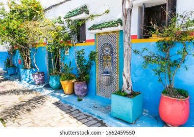 Beautiful view of the traditional Moroccan architecture in the kasbah of Oudayas. Location: Rabat, Morocco, Africa. Artistic picture. Beauty world.