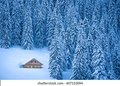 Beautiful view of traditional rustic wooden mountain chalet secluded in idyllic forest in the Alps on a cold sunny day in winter, Gosausee, Salzkammergut, Upper Austria region, Austria