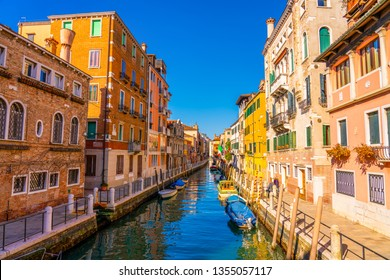 Beautiful view of traditional water canal in Venice