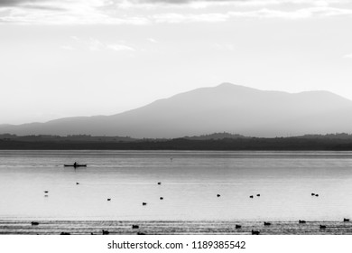 Beautiful view of Trasimeno lake at sunset with birds on water, a man on a canoe and hills on the background