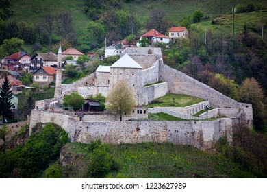 Beautiful view of Travnik, city in Bosnia and Herzegovina. Top view of  Travnik Fortress