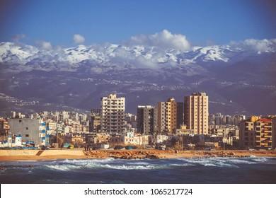 Beautiful view of Tripoli, Lebanon. The sea and mountains in Lebanon
