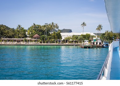 Beautiful view of the tropical island from the boat
