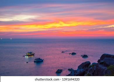 Beautiful view twilight with colorful clouds at sunset on Similan island, Similan No.8 at Similan national park, Phang Nga, Thailand