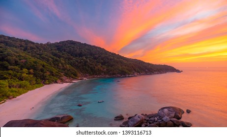 Beautiful view twilight with colorful clouds at sunset on Similan island, Similan No.8 at Similan national park, Phang Nga, Thailand - Image
