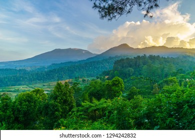 a beautiful view of twin mountain Gede and Pangrango in Puncak Bogor, Indonesia.