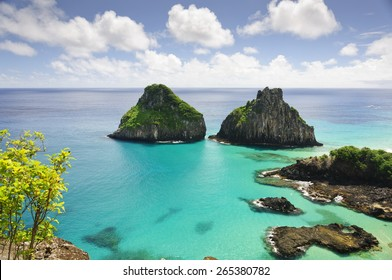Beautiful view to Two Brothers Rock at Fernando de Noronha
