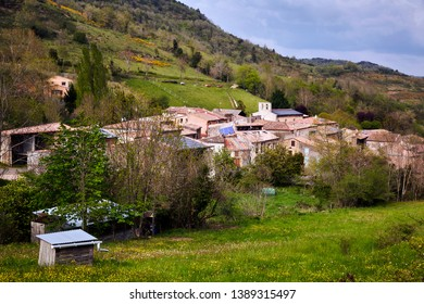 Beautiful view of the typical, authentic village of Saint Jean De Paracole a commune in the Aude department, at the foot of the Pyrenees mountain range in southern France on a beautiful spring morning