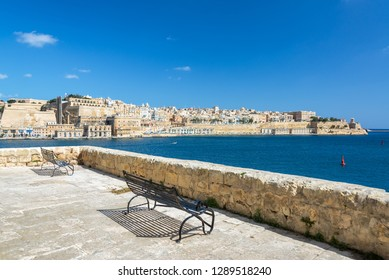 Beautiful view of Valletta, Malta as seen from Senglea, one of the Three Cities