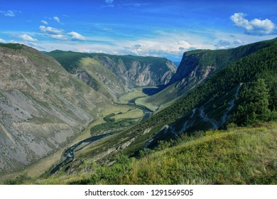 Beautiful view of the Valley of Chulyshman river on Altai in Russia