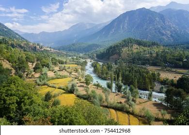 Beautiful view of valley in Pahalgam Kashmir India.