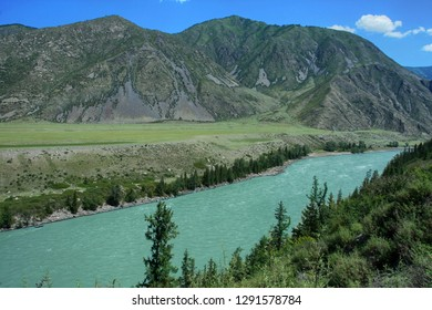 Beautiful view of the valley of the river Katun and mountains. Altai Republic in Russia
